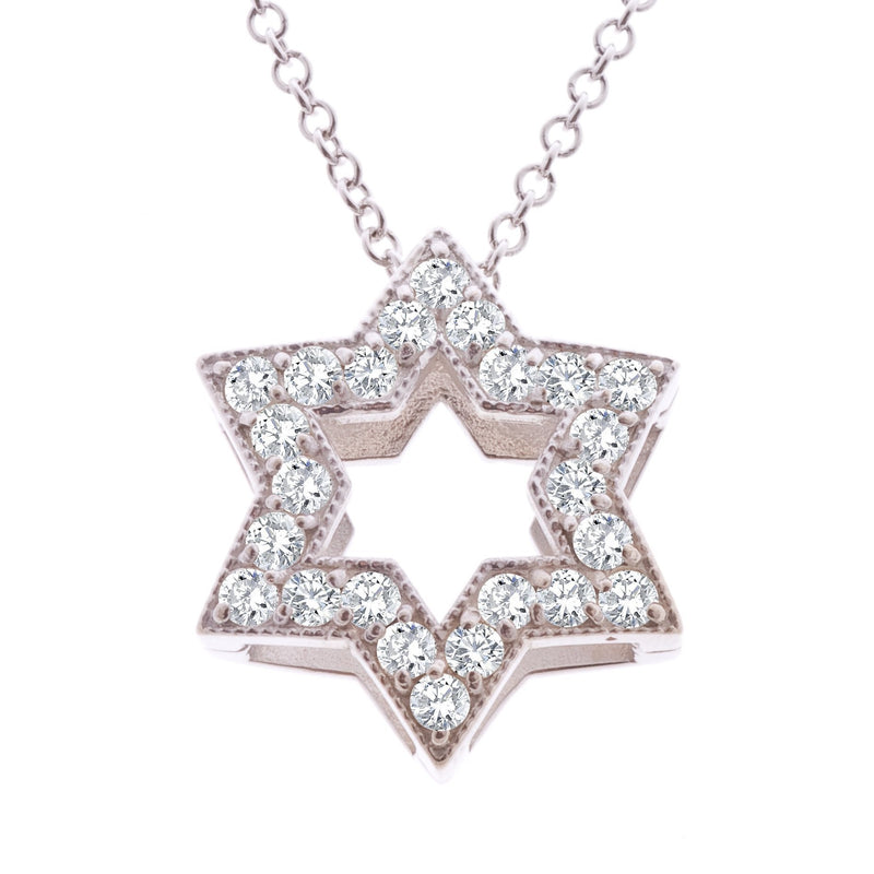 Outline Star of David with Diamonds - Alef Bet Jewelry by Paula