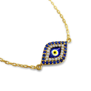 yellow gold bracelet evil eye