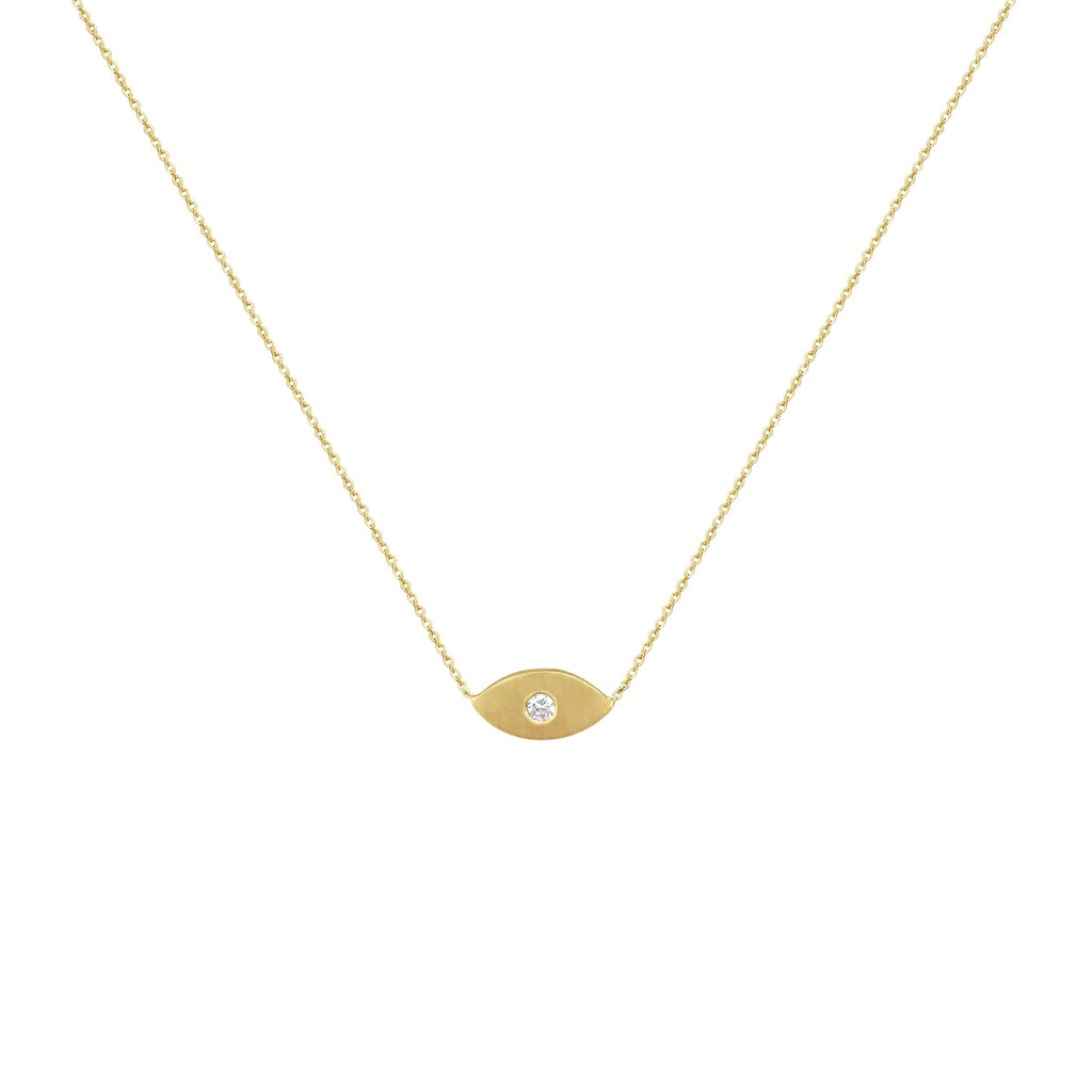 Single Diamond Evil Eye Necklace - Alef Bet Jewelry by Paula
