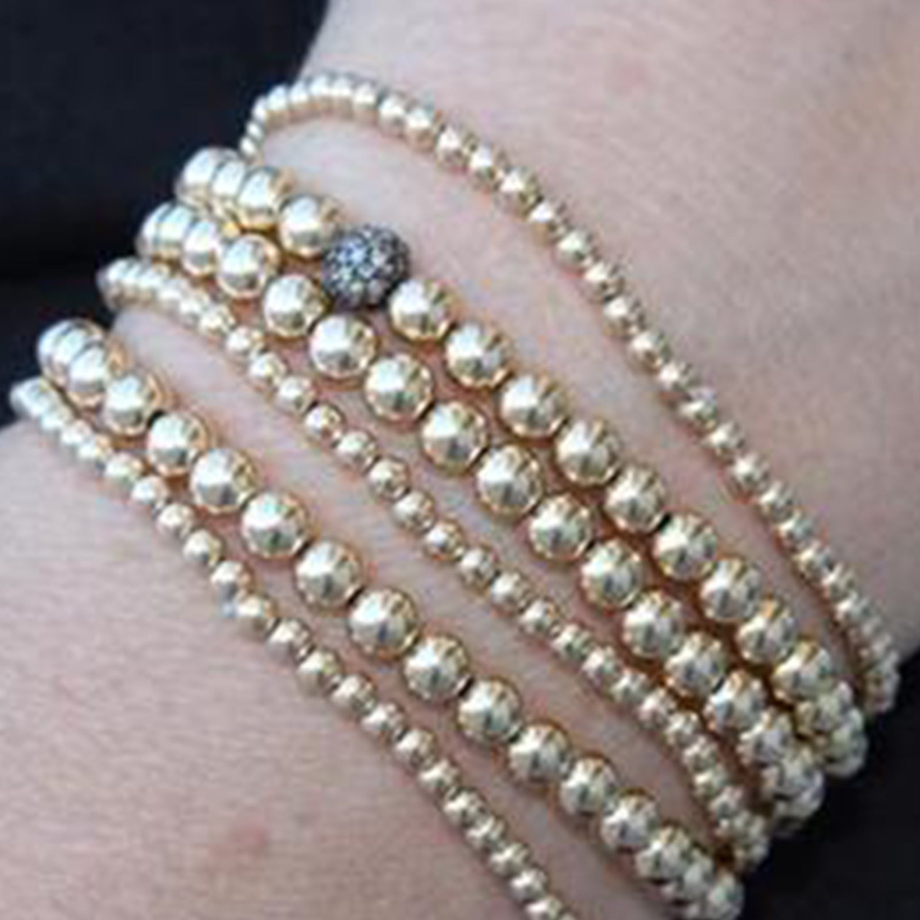 Gold Beaded Bracelets | Assorted Sizes Starting at $26 - Alef Bet Jewelry by Paula