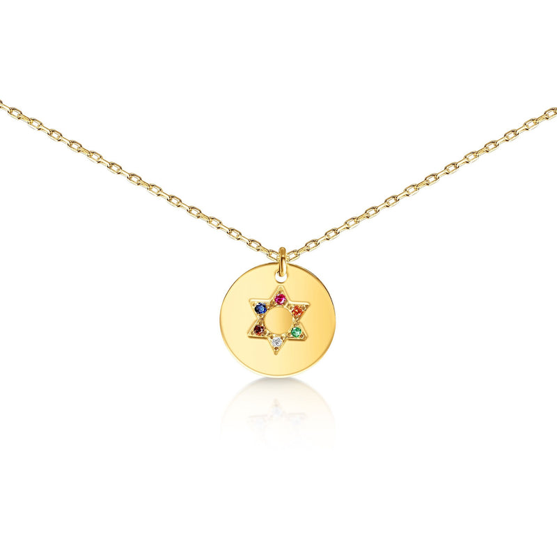 rainbow pride jewish star necklace
