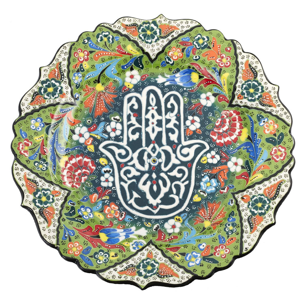 Green Hamsa Hand Floral Decorative Platter