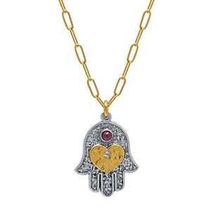 Hamsa and Heart Pendant with Protective Garnet Stone