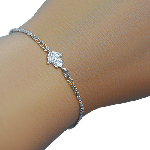 little hamsa bracelet in silver