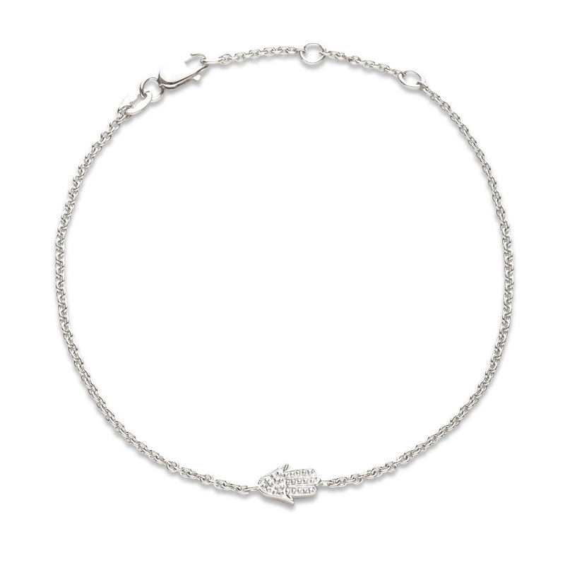 silver hamsa and diamond bracelet
