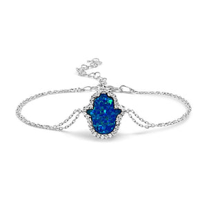 blue hamsa opal bracelet in silver for women
