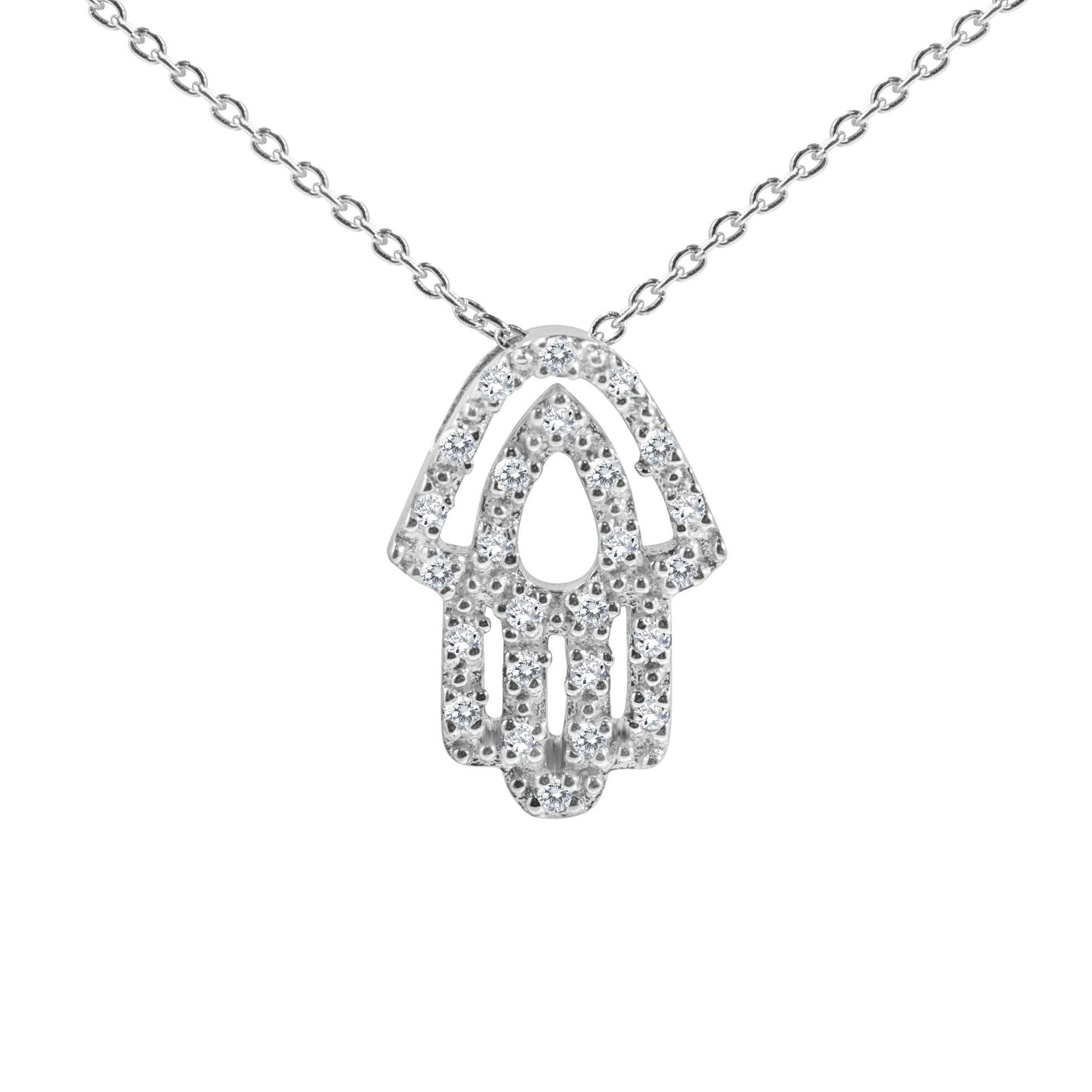 Hamsa with Diamond Necklace in 14k Gold