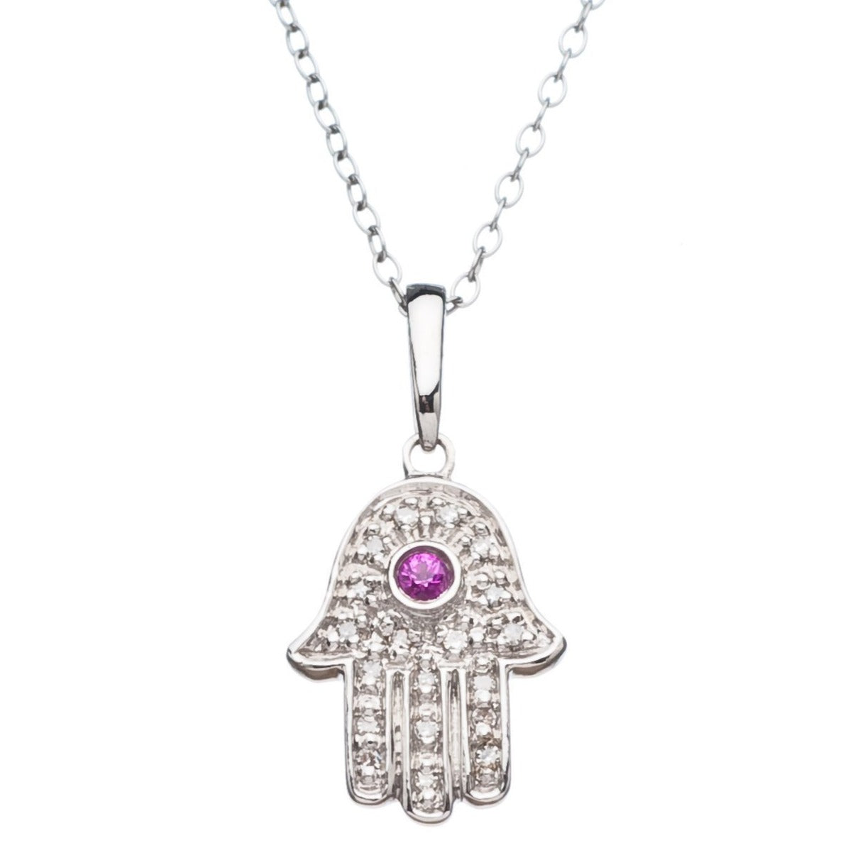 Lucky Hamsa Hand Necklace with Diamonds