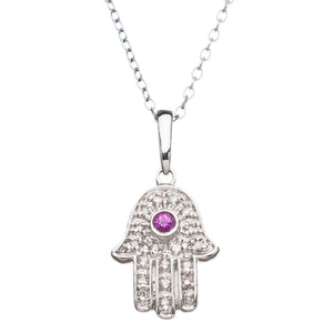 hamsa ruby and diamond necklace