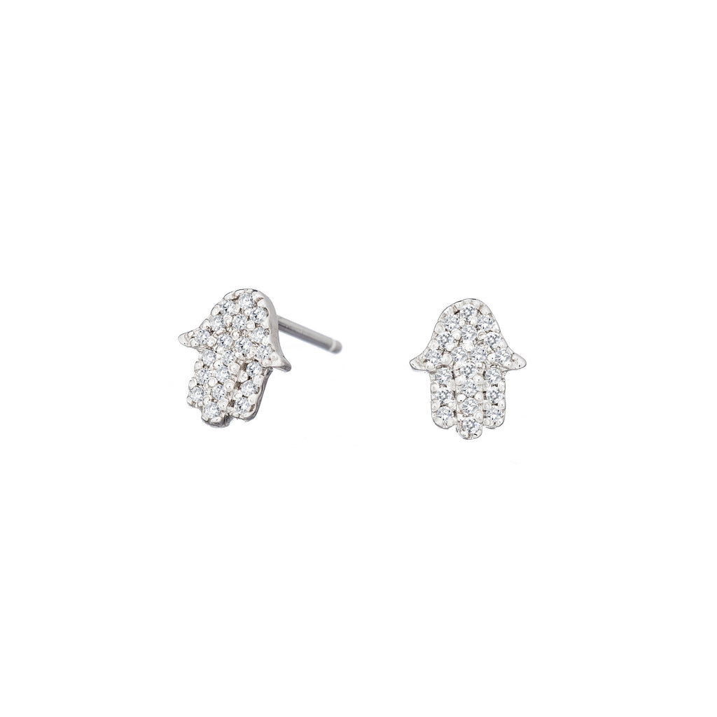 Diamond Hamsa Earrings - Alef Bet Jewelry by Paula