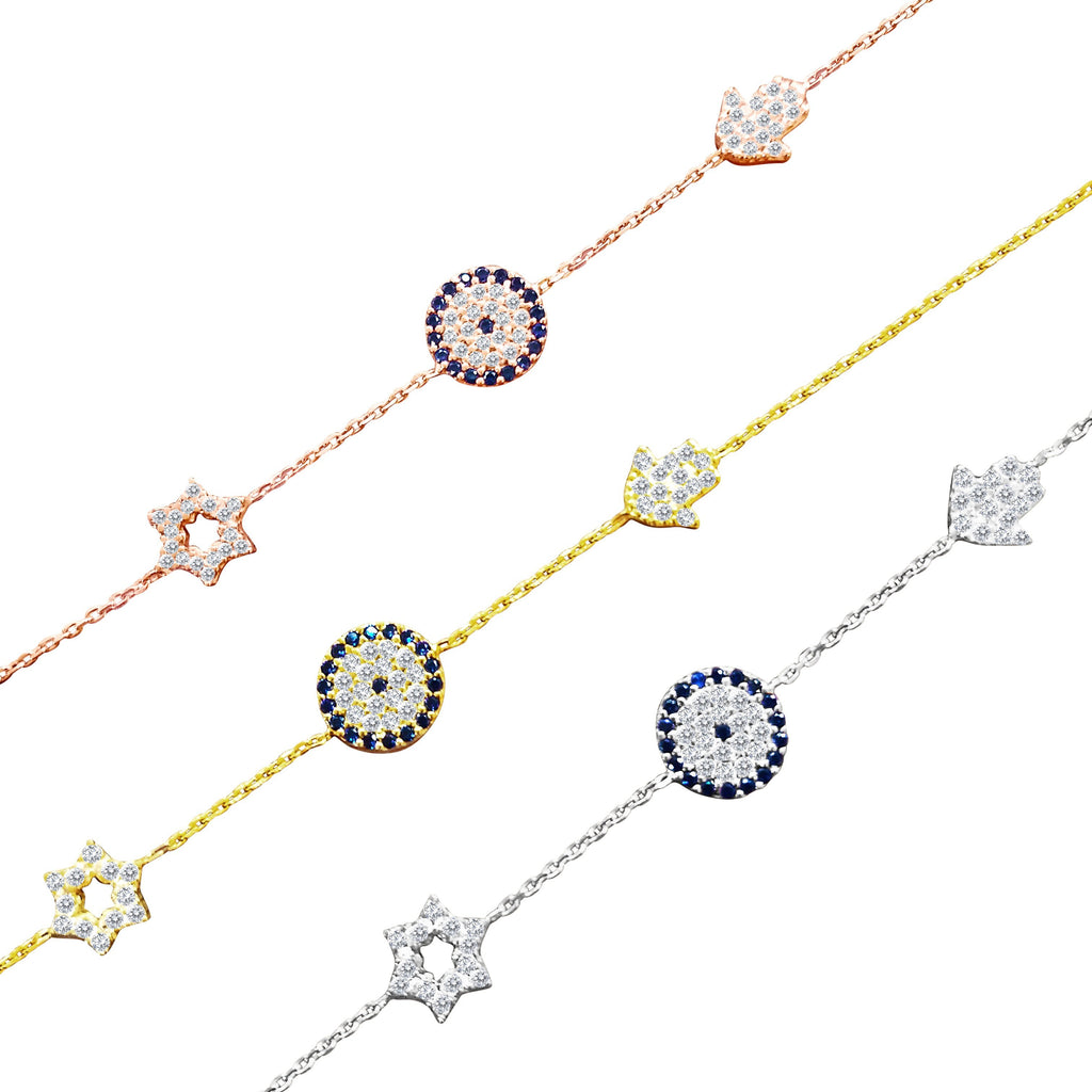 Star, Hamsa and Eye Bracelet - Alef Bet Jewelry by Paula