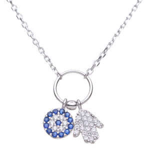 evil eye and hamsa necklace in silver