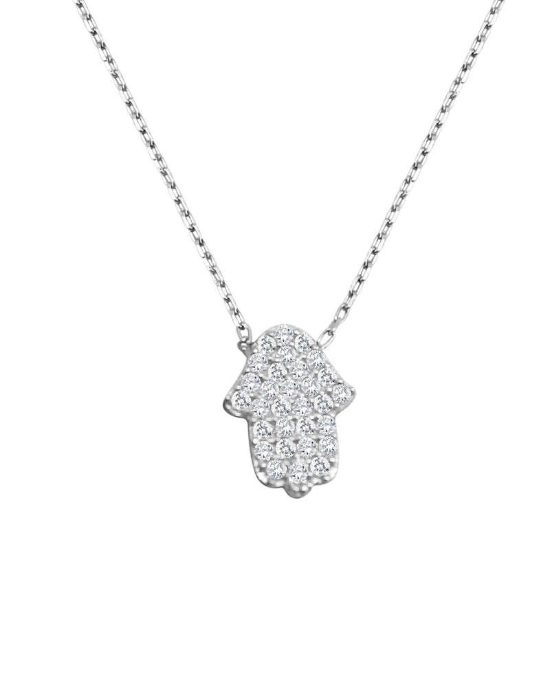 Hamsa Hand of Fatima Necklace in Silver