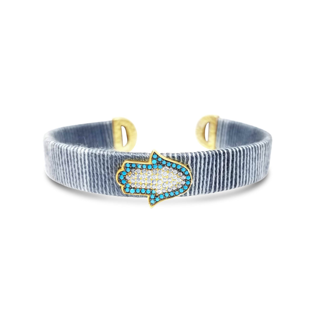 turquoise and grey hamsa bracelet