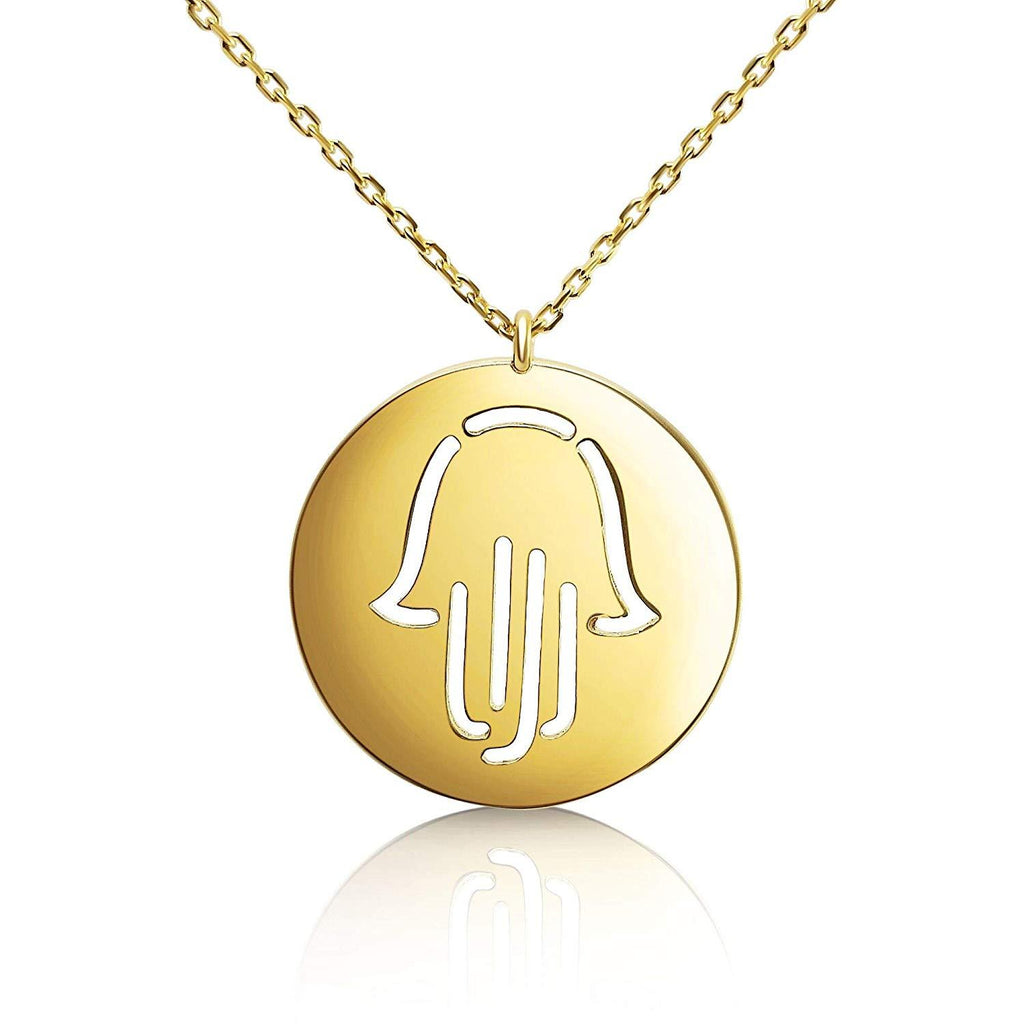 Round Hamsa Necklace in Yellow Gold