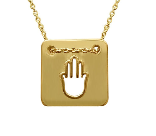 Gold Hamsa Necklace in a Square - Alef Bet Jewelry by Paula