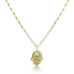 Hamsa Necklace with Lucky Turquoise Gemstone on Paperclip Chain