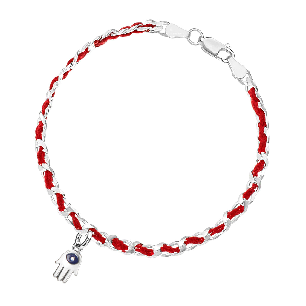 hamsa red string bracelet with blue eye