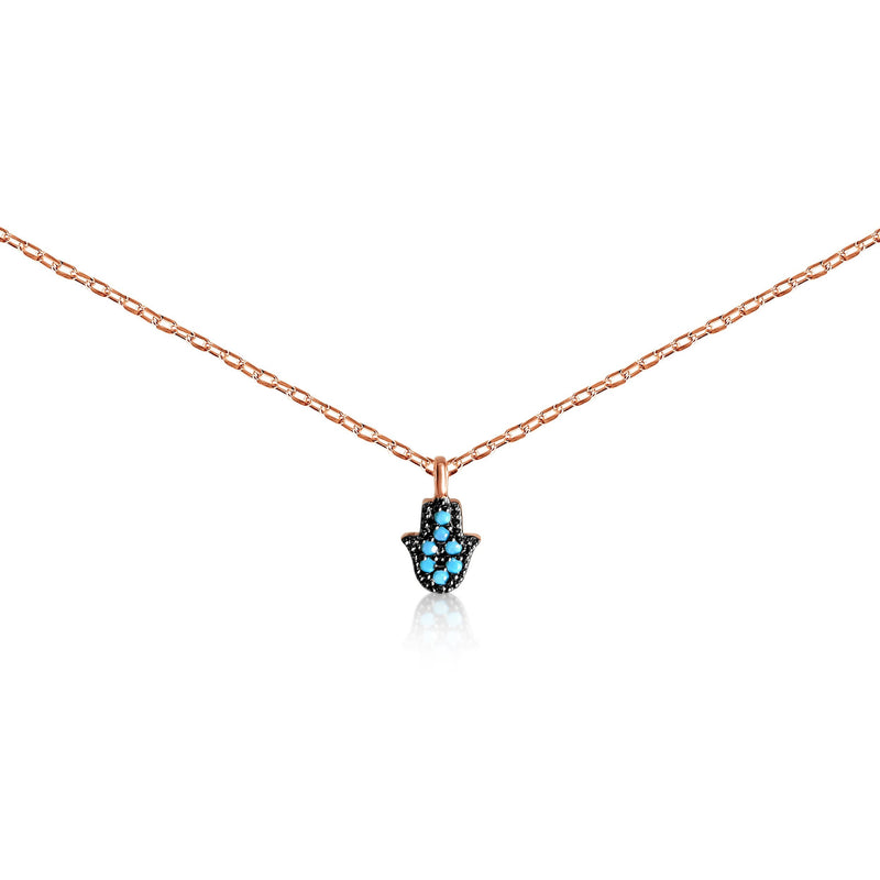 chamsa hand rose gold necklace