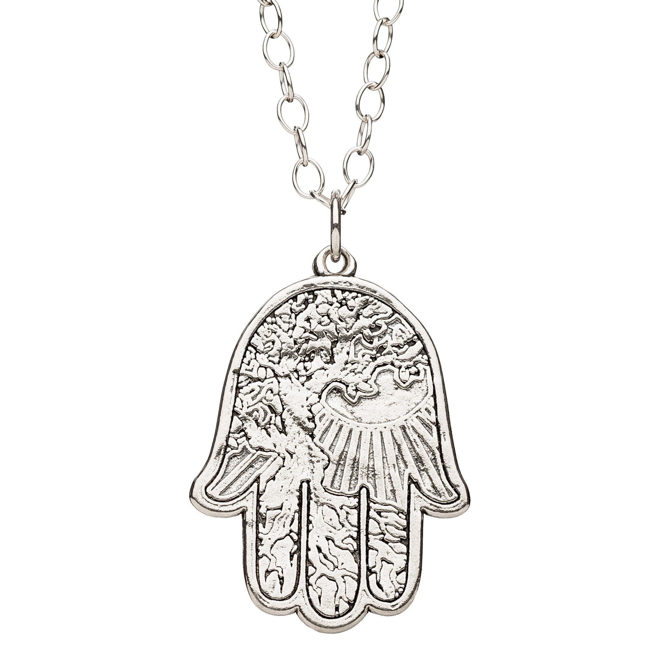 Hamsa Silver Necklace with Landscape Background
