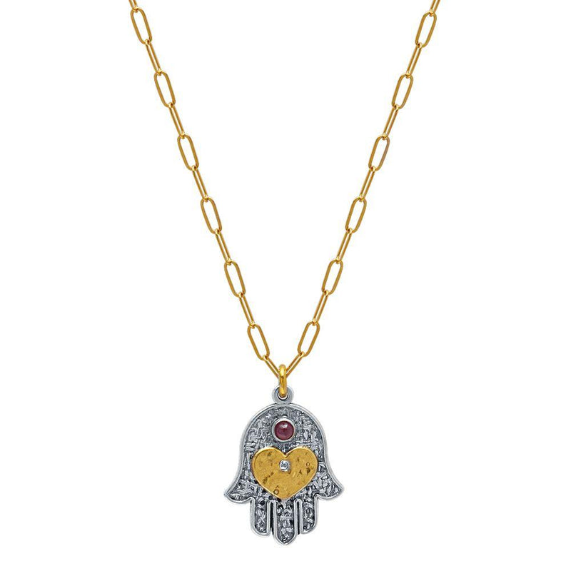 hamsa and heart necklace for women