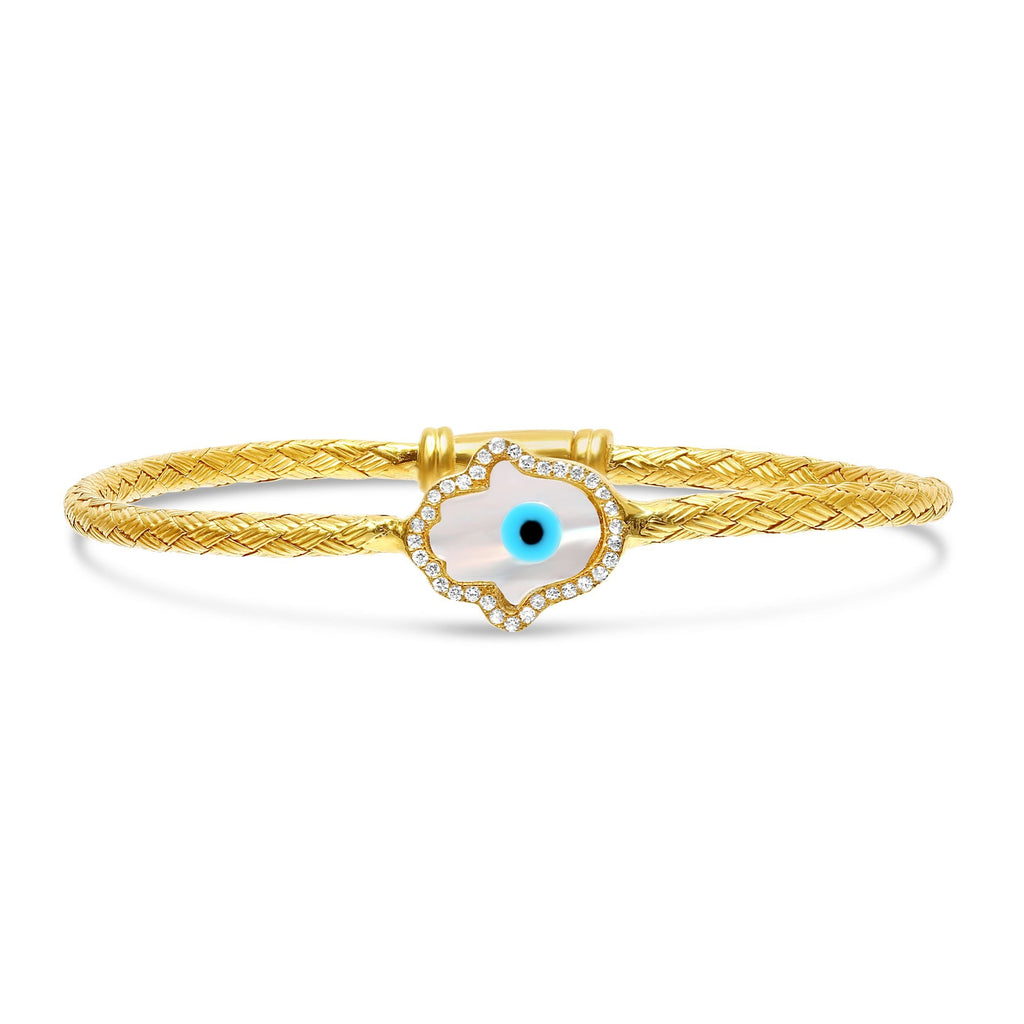 Mother of Pearl Hamsa and Eye Bangle Bracelet