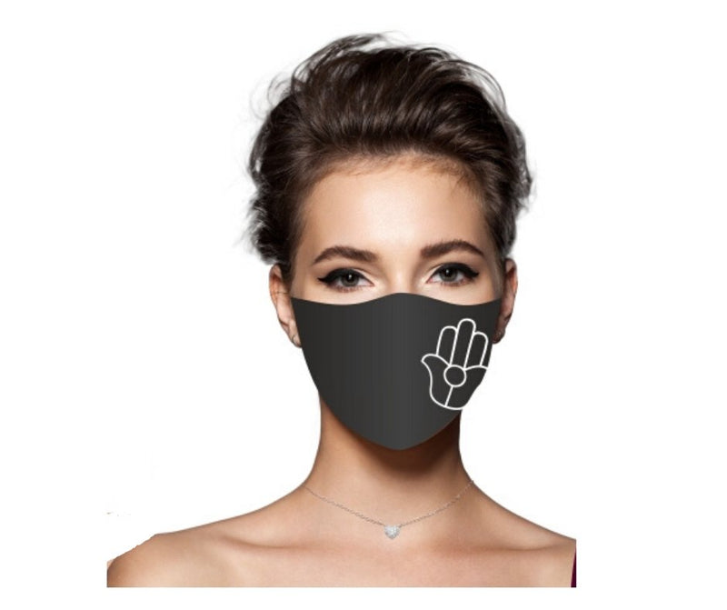 Facial Mask With Hamsa Hand Amulet in Black