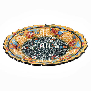 Hamsa Hand and Tulip Decorative Plate in Hues of Yellow