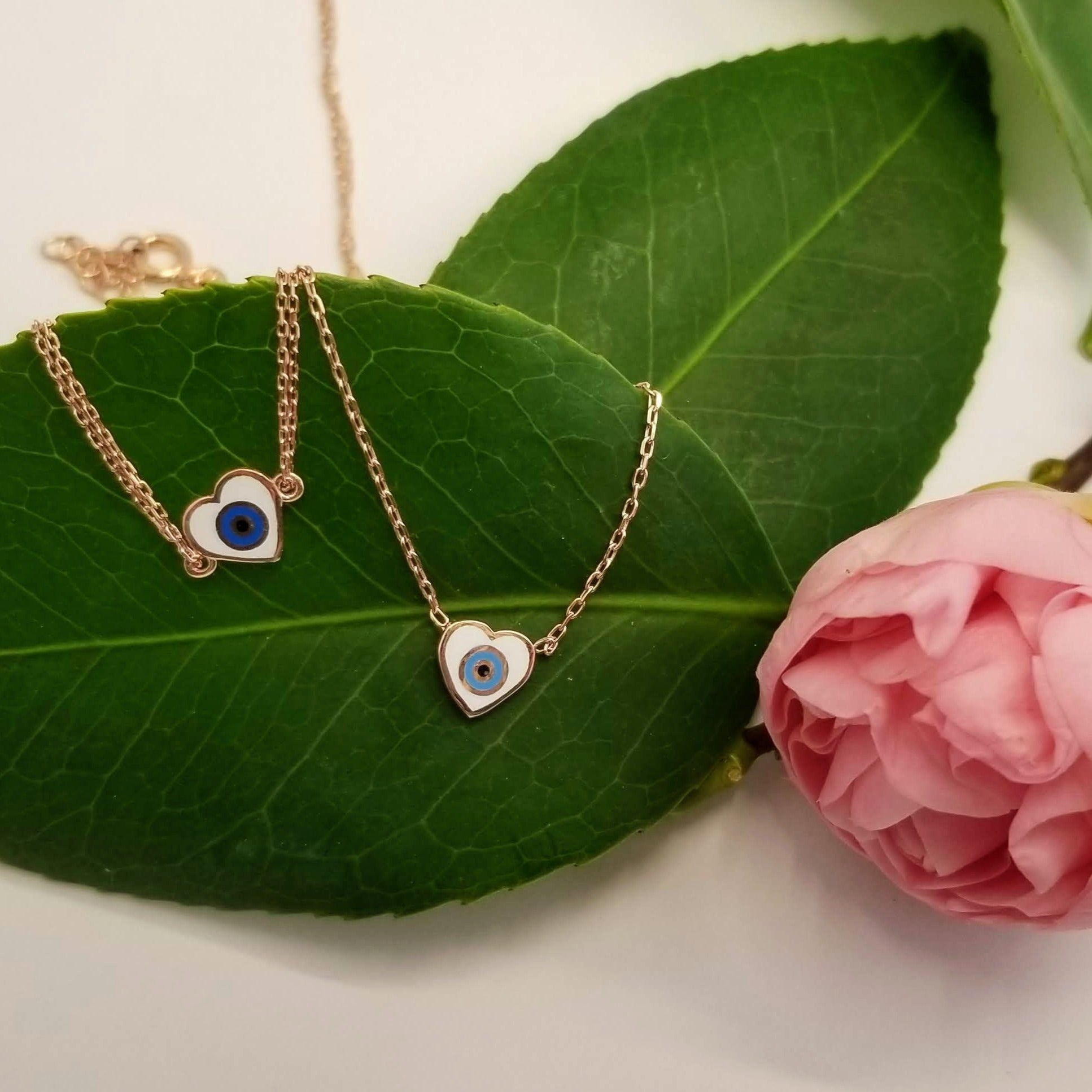 Heart Necklace and Bracelets With Evil Eye
