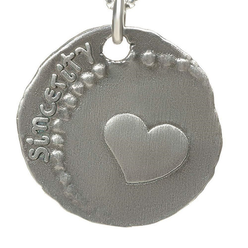 Coin Heart Silver Necklace - Alef Bet Jewelry by Paula