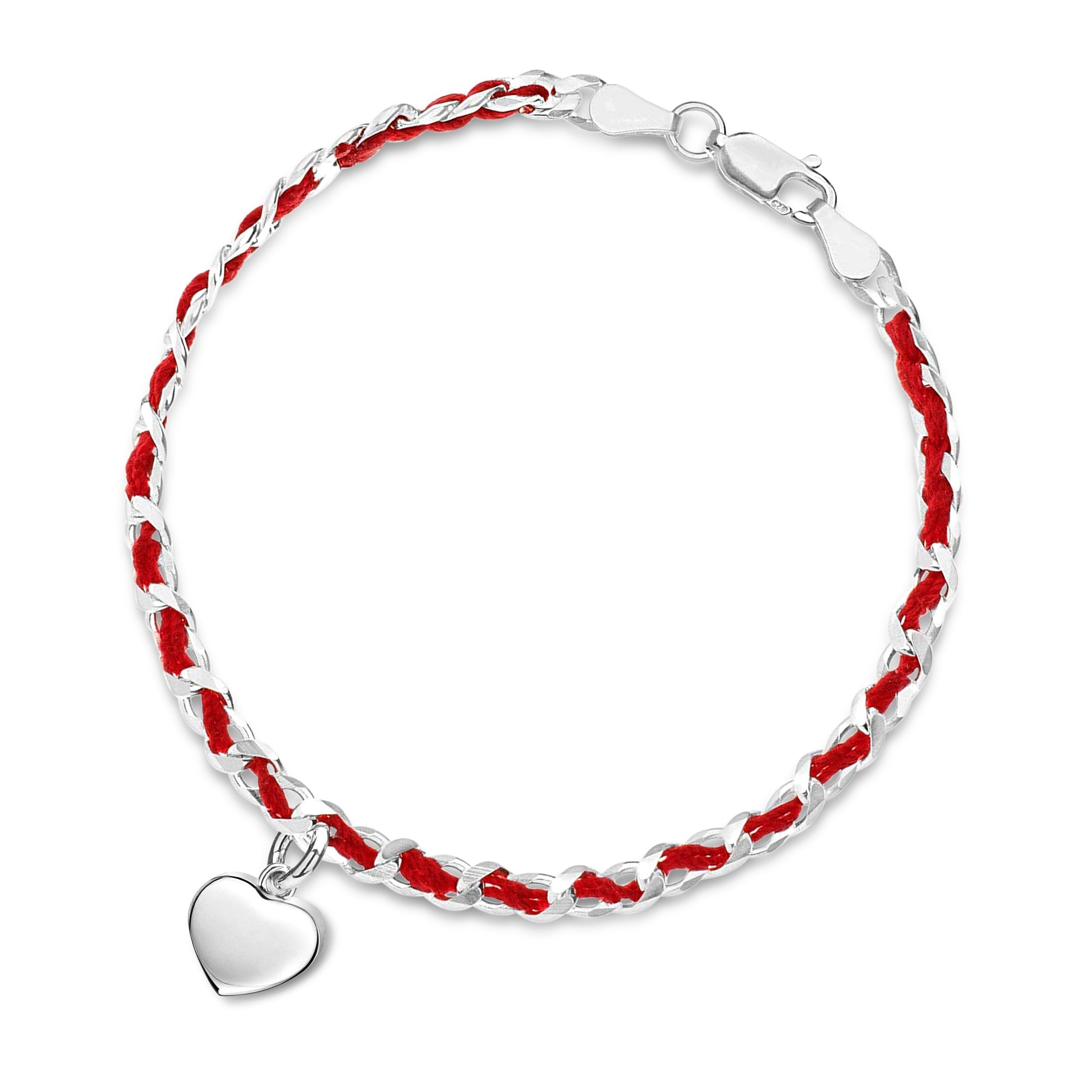 Solid Silver Heart Red String Bendel Bracelet