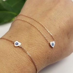 Heart Necklace and Bracelets With Evil Eye - Alef Bet Jewelry by Paula