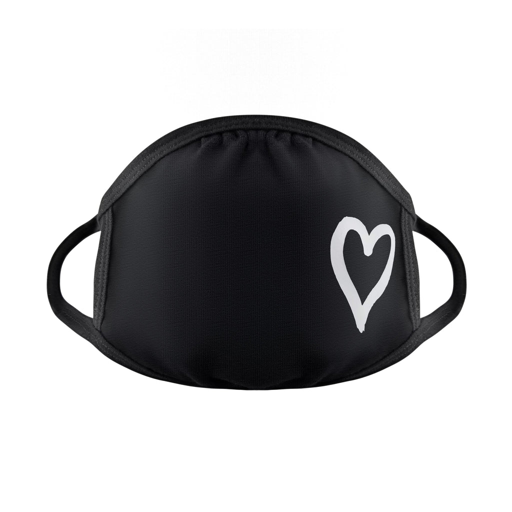 black cotton heart mask