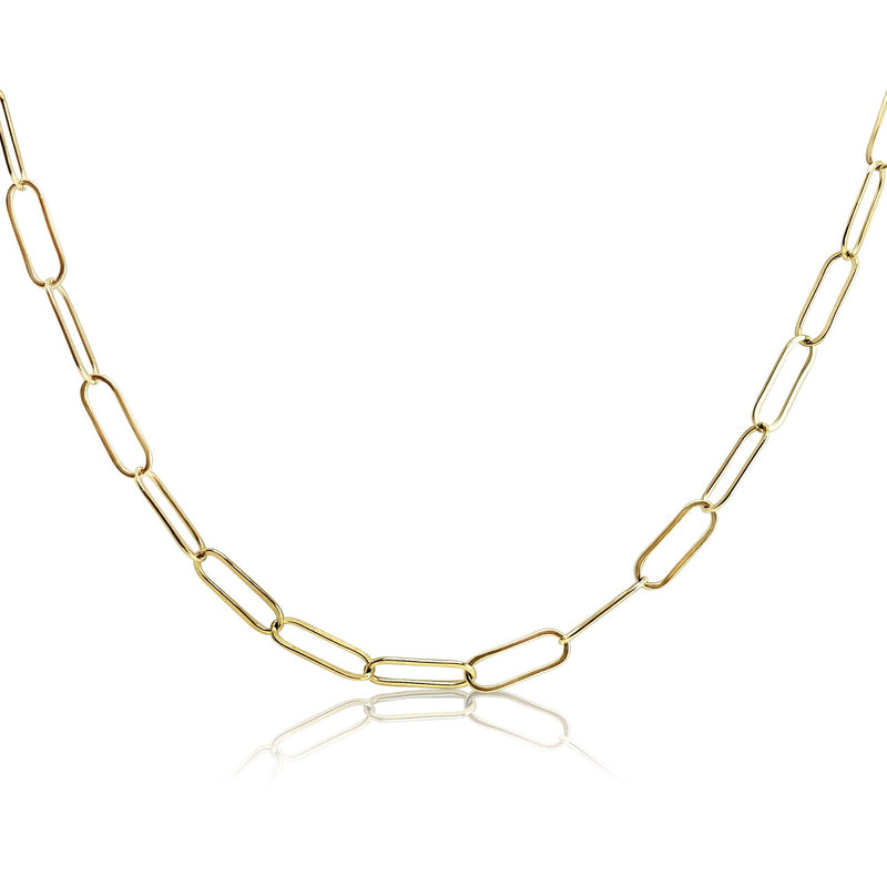 Thin Elongated Paper Clip Chain in 14k Gold