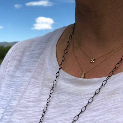Hebrew Initial Necklaces in Solid 14k Gold - Alef Bet Jewelry by Paula