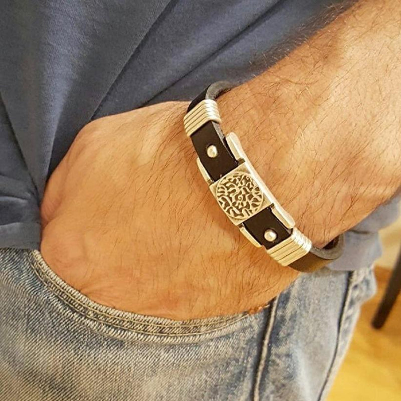 hebrew leather bracelet men