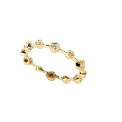 18k stacking ring with diamonds
