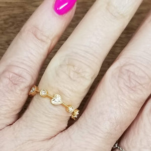Heart 18k Gold Diamond Ring - Alef Bet Jewelry by Paula
