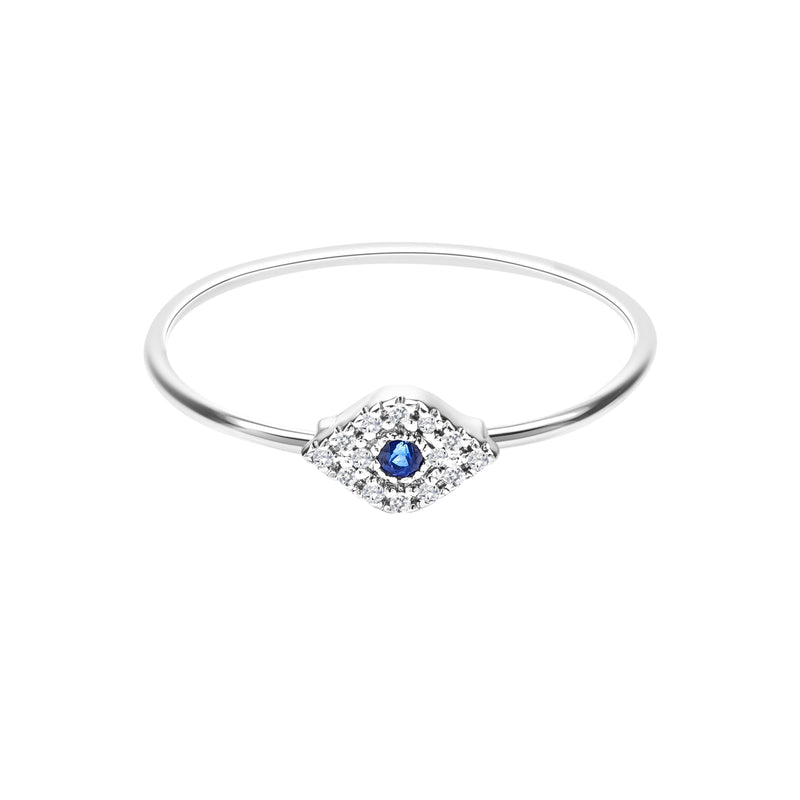 Diamond Evil Eye Ring - Alef Bet Jewelry by Paula