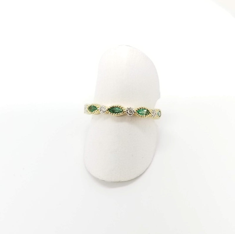 Emerald Ring in 14k Gold - Alef Bet Jewelry by Paula