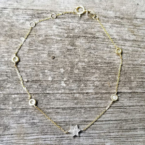 jewish star with diamonds in gold