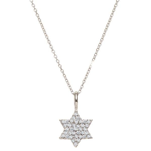 Diamond Jewish Star Necklace | Alef Bet Jewelry by Paula
