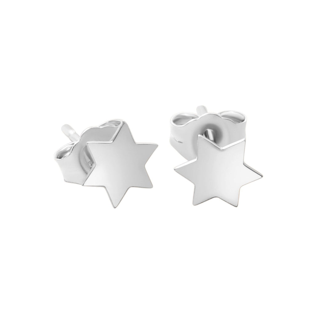 star of david earrings in silver