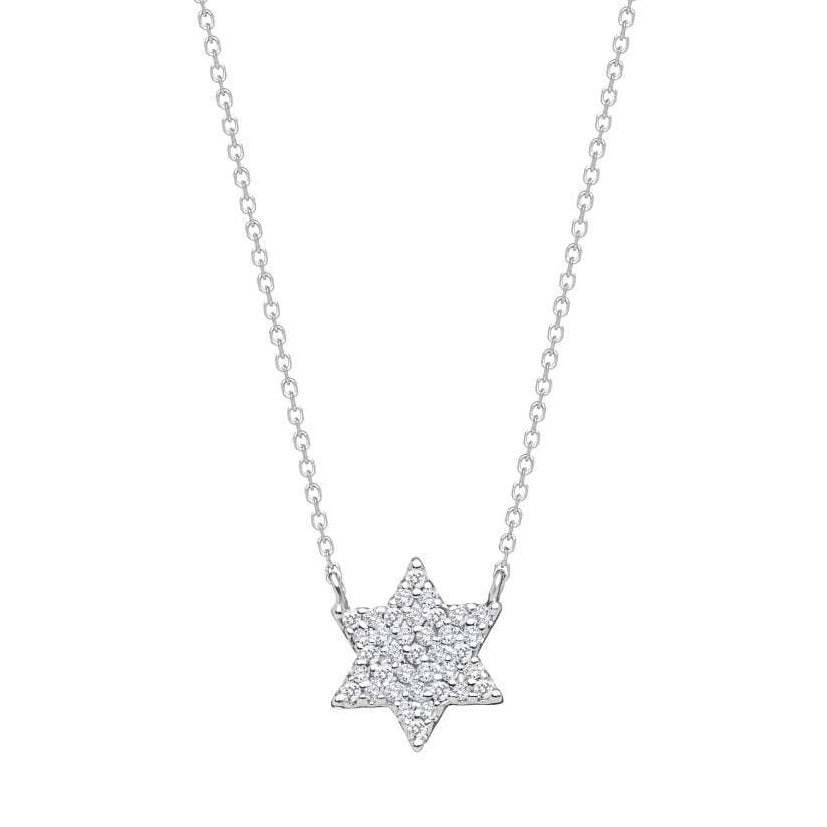 Sparkling Jewish Star Necklace in Silver