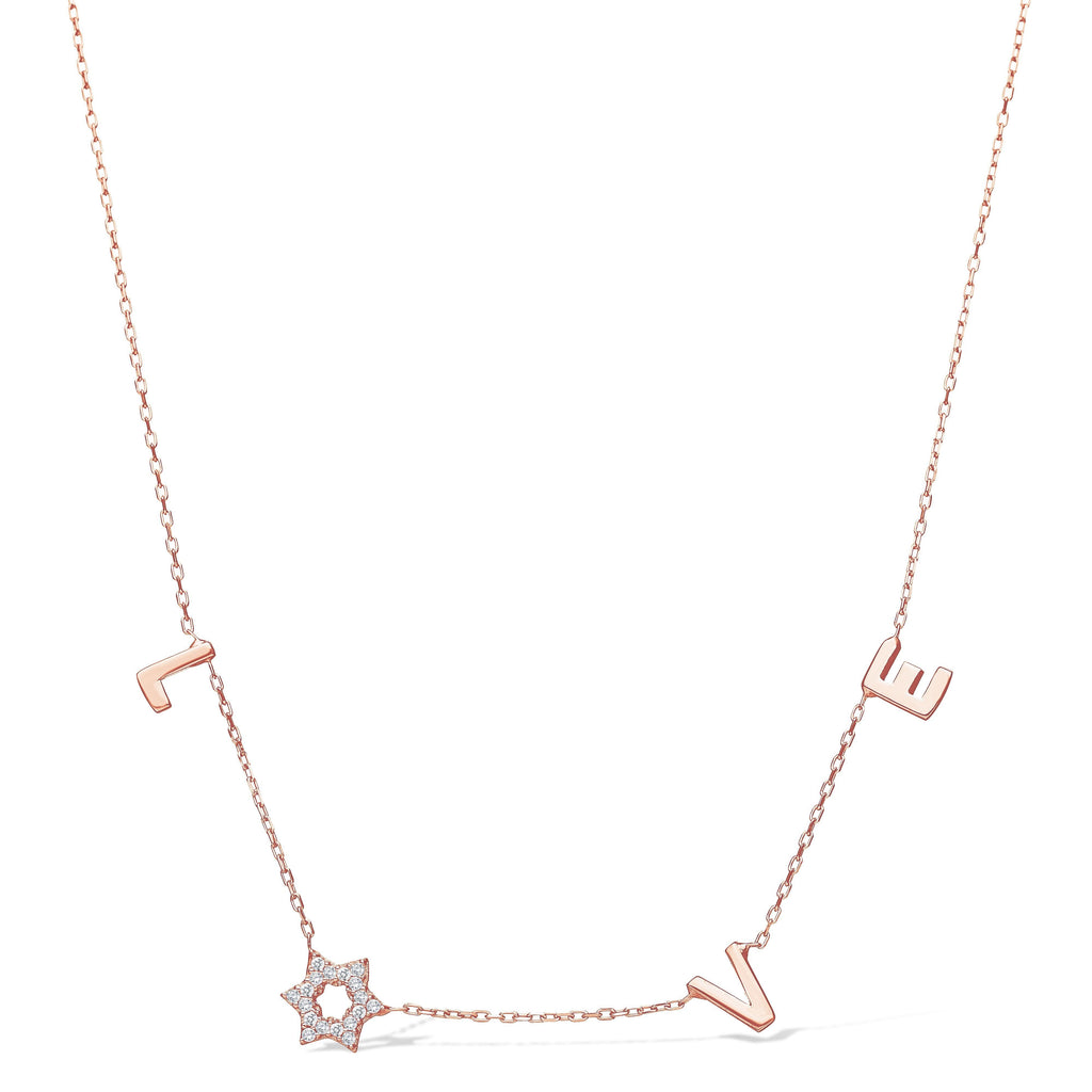Love Necklace with a Sparkling Jewish Star in the Center