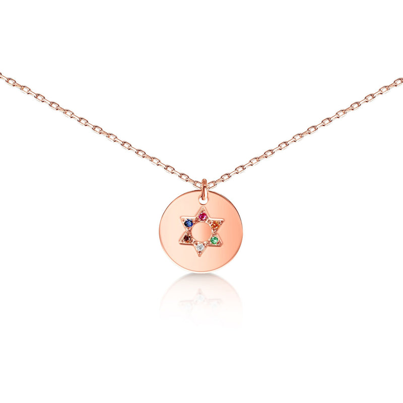 rainbow jewish star necklace