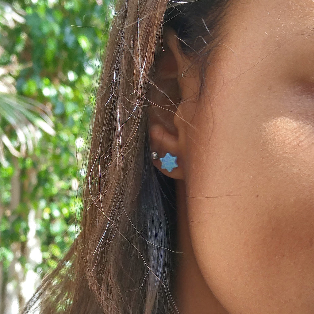 jewish star opal blue earrings