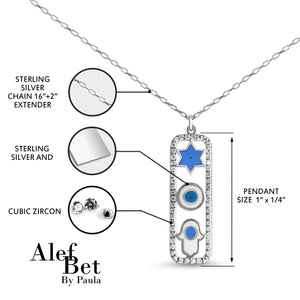 Trifecta Amulet Necklace with Star, Eye, and Hamsa Hand