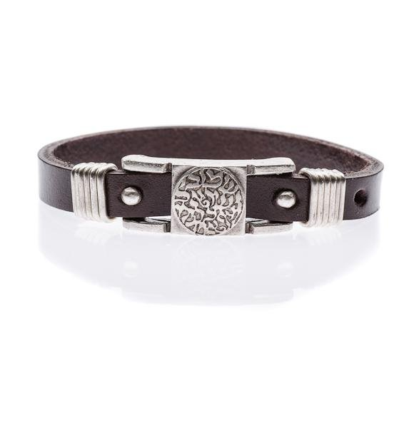 Shema Israel Leather Bracelet