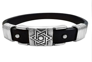 black jewish star leather bracelet